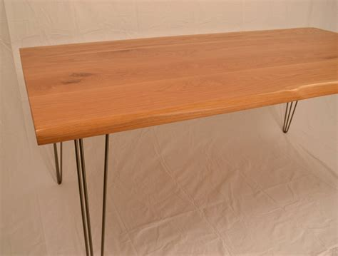 live edge oak table oak dining table live edge detail hairpin legs by wicked