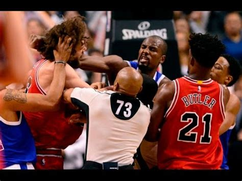 lopez  ibaka throwing punches nba fight  bulls