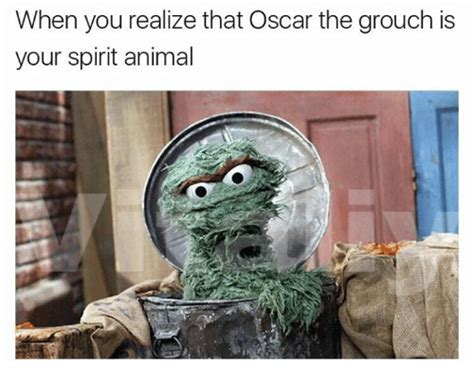 Oscar The Grouch Meme - when you realize that oscar the grouch is your spirit animal meme on sizzle