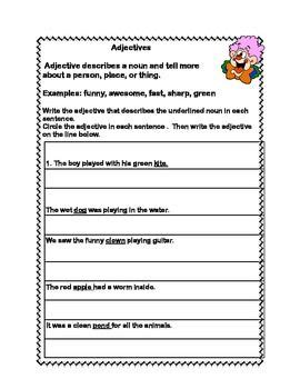 all about adjectives a series of worksheets for grades 2 3