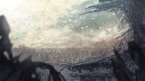 ruins apocalyptic destruction destroyed pixiv hd anime background doki senko bird animal widescreen wallpapers wallpaperup zerochan konachan chevron right respond