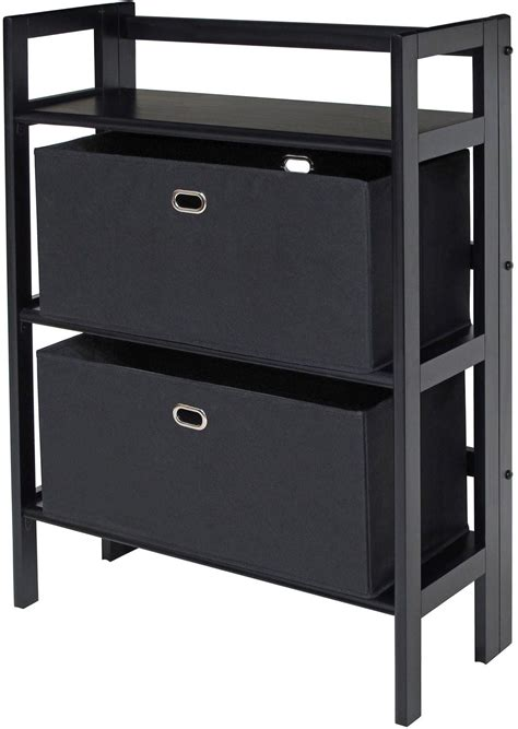 Black Bookcase With Baskets torino black folding bookcase with fabric basket from