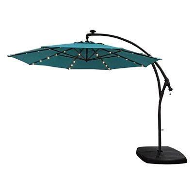 allen roth ls allen roth ar 11ft blue offset patio umbrella with base