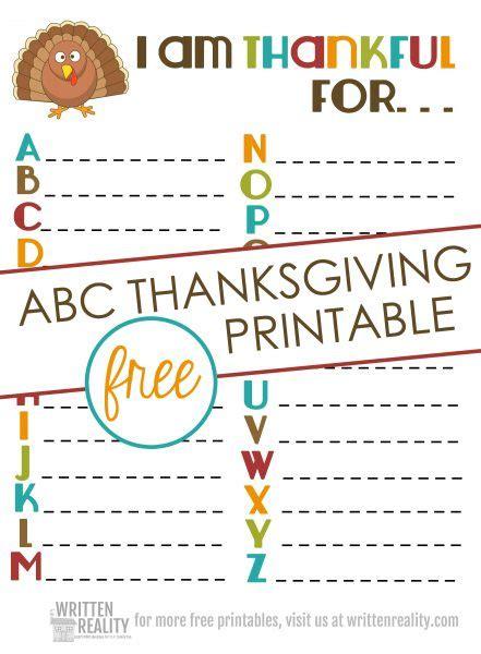 thankful abcs printable  perfect  thanksgiving