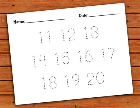 11 20 number trace worksheet pdf printable by pdotprintables