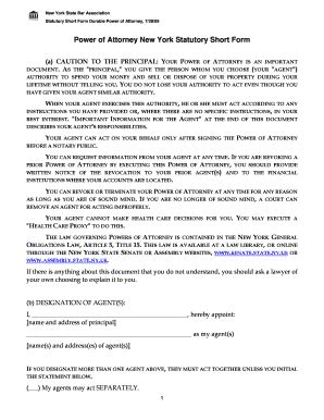 power of attorney new york statutory form fill printable fillable blank