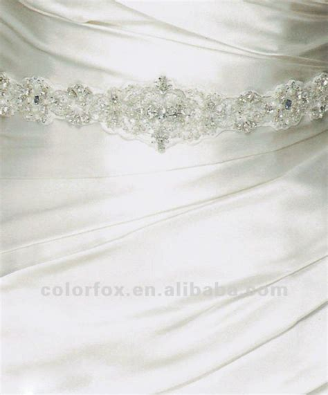 elegant rhinestone pearl and crystal beaded satin bridal