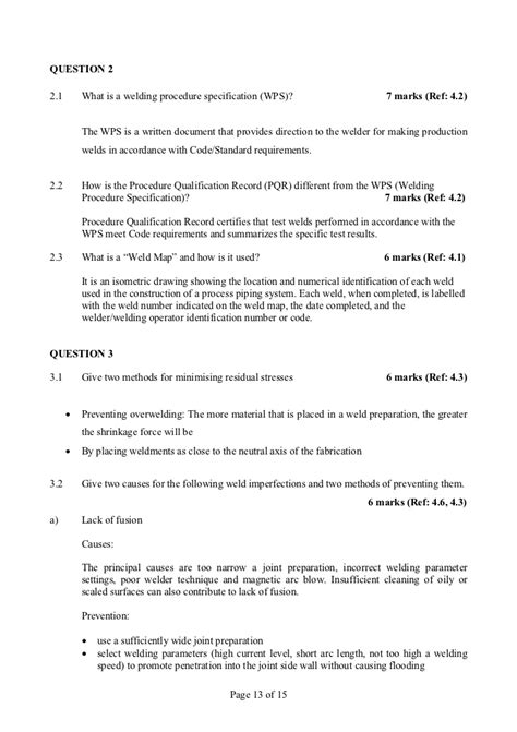 Sample questions and answers for iwp examinations