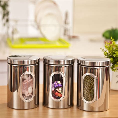 fashioned kitchen canisters 1pc high quality stainless steel canister jar bottle box set with glass window kitchen storage