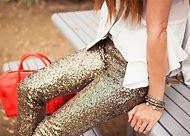 Gold Glitter Sequin Pants