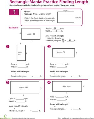 rectangle algebra find the missing length places to