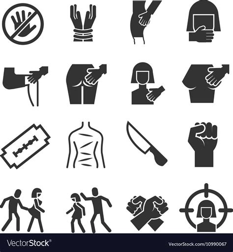 Sexual Abuse Harassment Violence Icons Royalty Free Vector