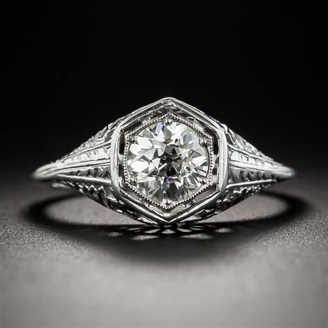 art deco 82 carat diamond solitaire engagement ring