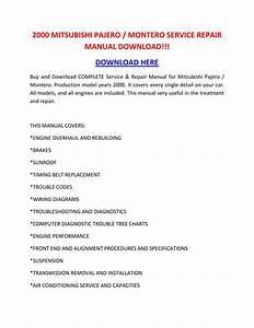 2000 Mitsubishi Pajero Montero Service Repair Manual