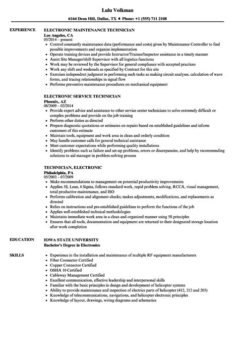 An Resume by Technician Electronic Resume Sles Velvet