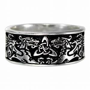 Large Wide Celtic Dragon Ring Triquetra Medieval