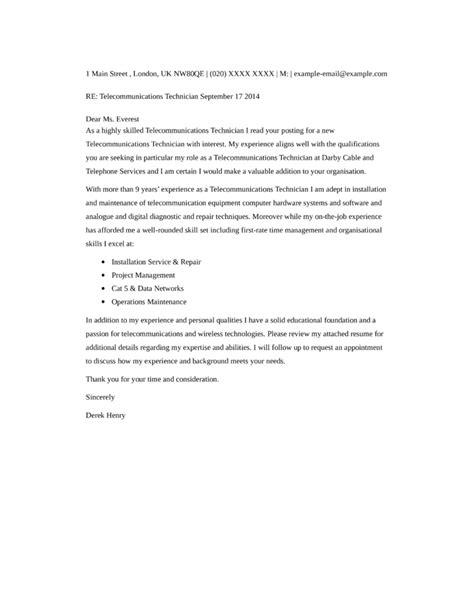 Basic Telecommunications Technician Cover Letter Samples