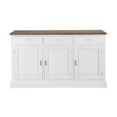 meuble de bureaux buffet en bois de paulownia blanc l 150 cm leandre