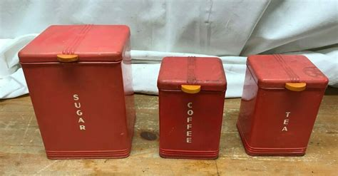 The largest will hold about one pound of sugar. 3 Vintage Kreamer Canisters Kitchen Canister Set Red Tin Sugar Coffee Tea in 2020 | Kitchen ...