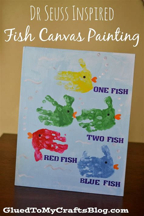 Dr Seuss Inspired Fish Canvas Painting {kid Craft} Glued