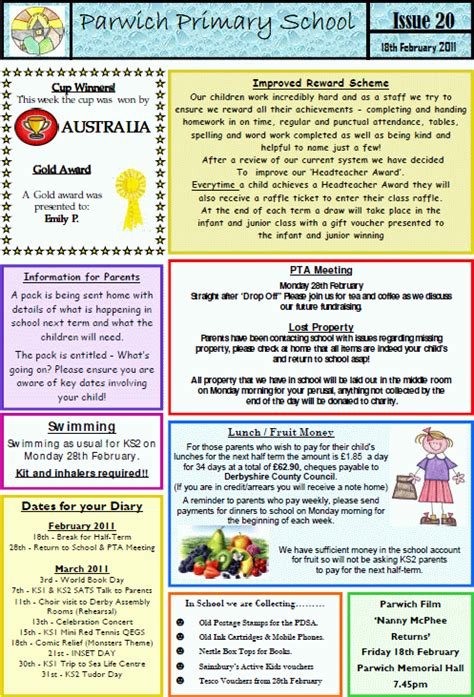 school newsletter  parwichorg