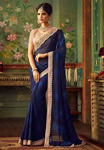 Plain Georgette Saree In Navy Blue   Sfva46