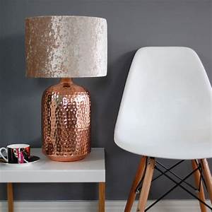 copper table lamp with choice of velvet lampshade With table lamp not on the high street