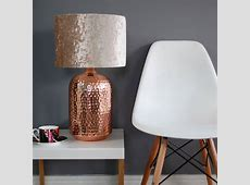 Copper Table Lamp With Choice Of Velvet Lampshade Table