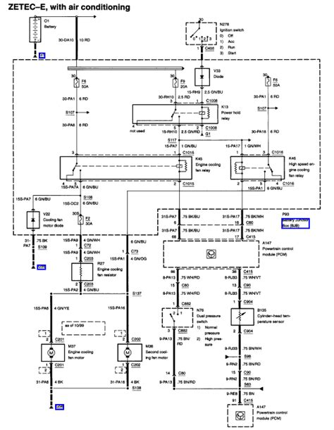 Wiring Diagram 2000 Ford Focu Zetec by 01 Focus Cooling Fan Not Working Single Fan No Ac