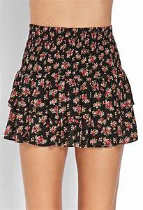 Forever 21 Flirty Floral Tiered Skirt in Red (Black/red ...