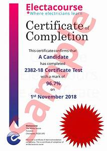 Domestic Electrical Installation Certificate Example