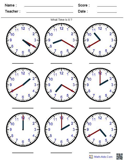math worksheets telling time kindergarten time