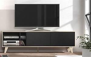 Meuble Chene Gris : meuble tv domino gris anthracite chene ~ Teatrodelosmanantiales.com Idées de Décoration