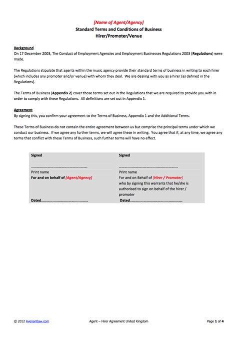 Contract Signature Page Template Uk by Agent Hirer Promoter Venue Contract Template