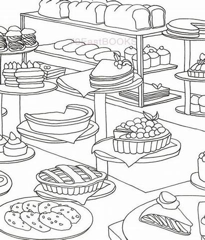 Coloring Bakery Adult Colouring Cake Desert Bread