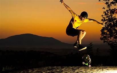 Sunset Skateboard Skateboarding Skate Helmet Jump Wallpapers