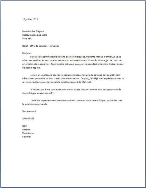 lettre de motivation chef de cuisine en restauration collective lettre de motivation serveuse
