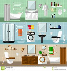 Bathroom Interior With Furniture Cartoon Vector