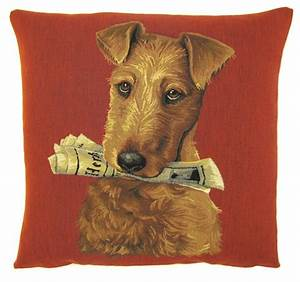 Dog fox terrier holding newspaper jacquard woven tapestry for Dog related home decor