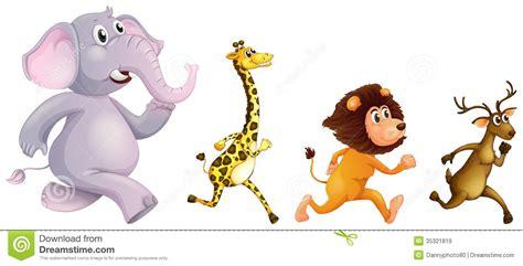 wild animals running stock vector illustration