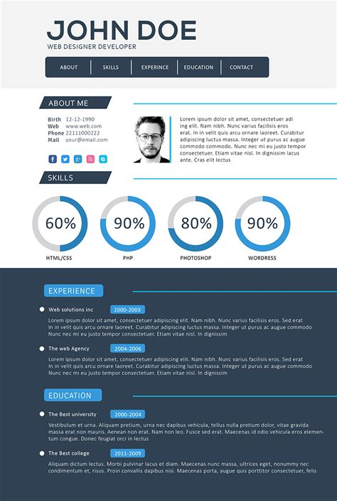 Curriculum Vitae Website Template Free by Front End Web Developer Resume