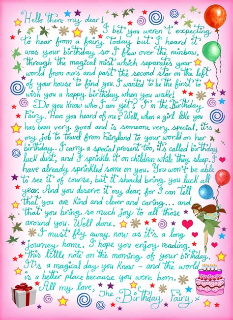 birthday fairy letter   girl rooftop post printables