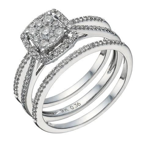 9ct white gold 0 50ct diamond cushion bridal ring ernest jones