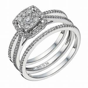 9ct white gold 050ct diamond cushion bridal ring set for 9ct gold wedding ring sets
