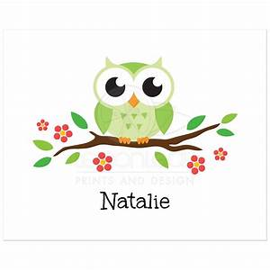 Green owl on flowering branch - nursery wall art print for