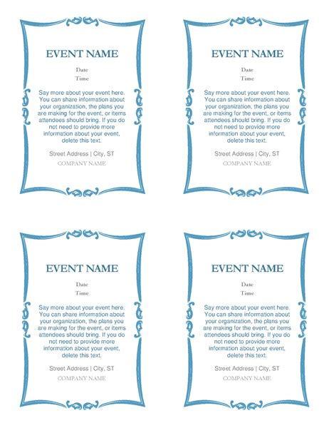 Event Invitations (4 Per Page