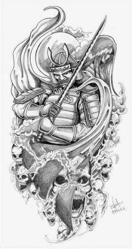 Black And Grey Samurai Warrior With Skull Tattoo Design