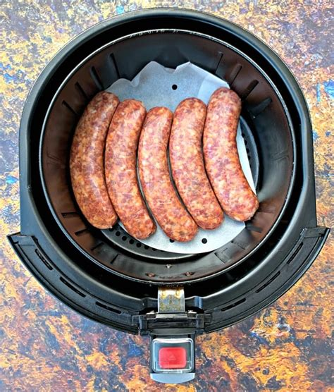 sausage fryer air sausages cook fry breakfast raw paper parchment long package quick easy