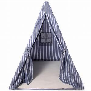 Tente Enfant Tipi : tente tipi indien cabane pour enfants ray bleu et blanc wingreen ~ Teatrodelosmanantiales.com Idées de Décoration