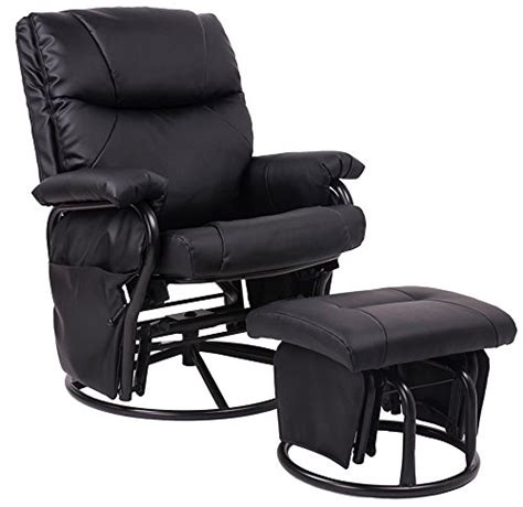 merax 174 black pu leather nursing glider rocker recliner and